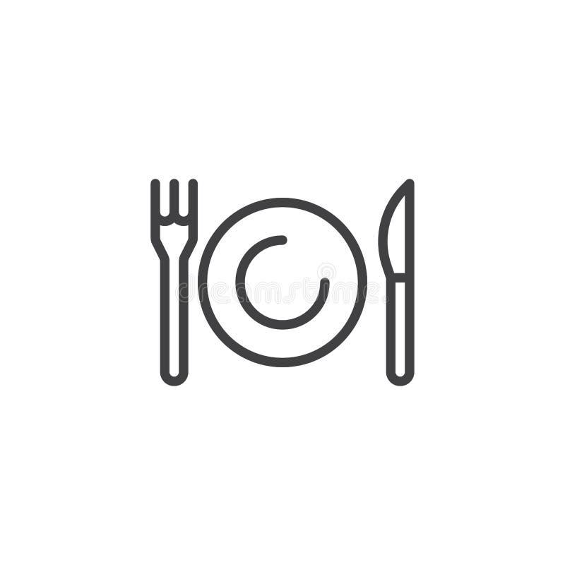 Línea icono de la placa, del cuchillo y de la bifurcación ilustración del vector