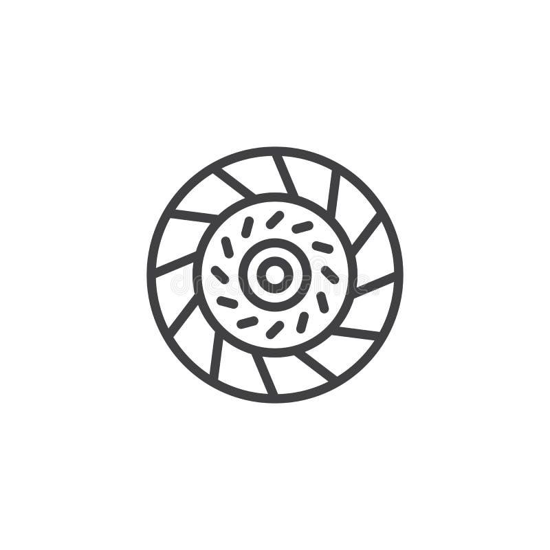 Línea icono de la placa de embrague del coche libre illustration