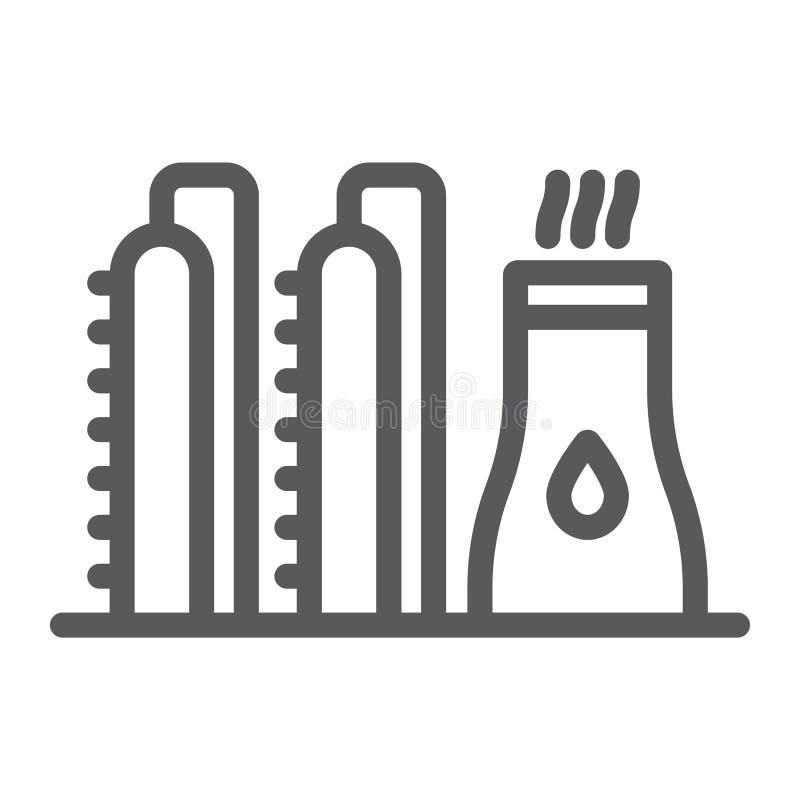 Línea icono de la planta de aceite, industy y refinería, muestra de la fábrica del poder, gráficos de vector, un modelo linear en ilustración del vector