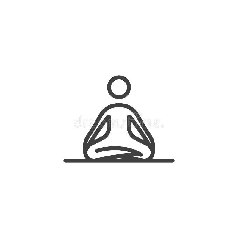 Línea icono de la práctica de la meditación libre illustration