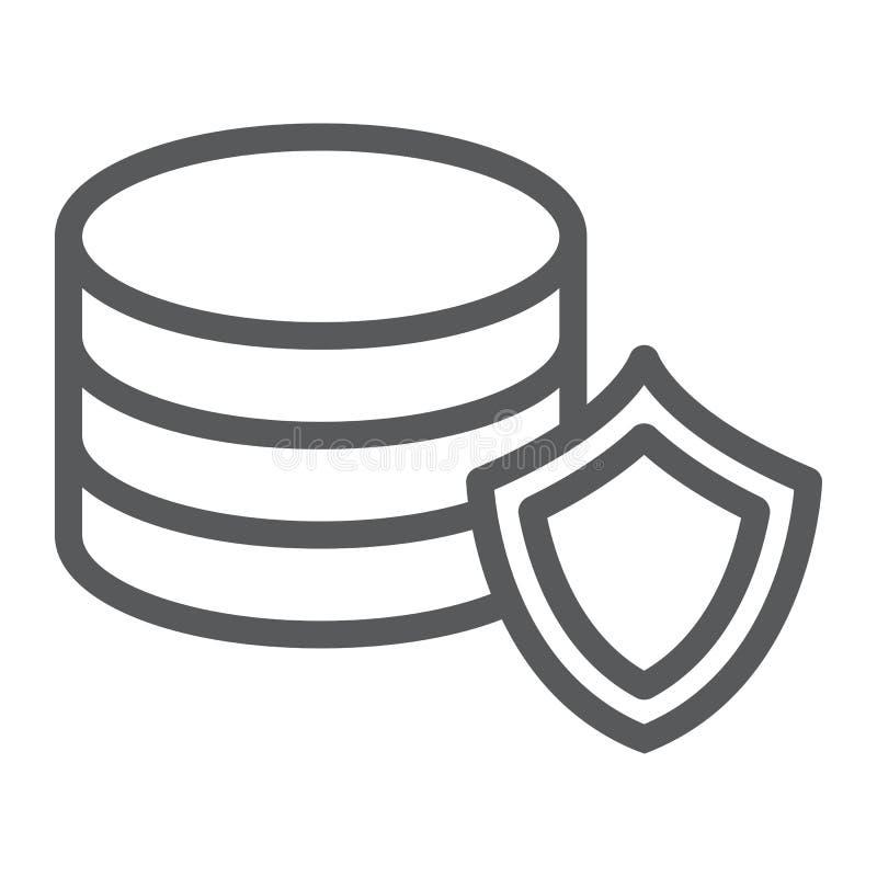 Línea icono de la protección de datos, aislamiento y seguridad, muestra de la protección del servidor, gráficos de vector, un stock de ilustración
