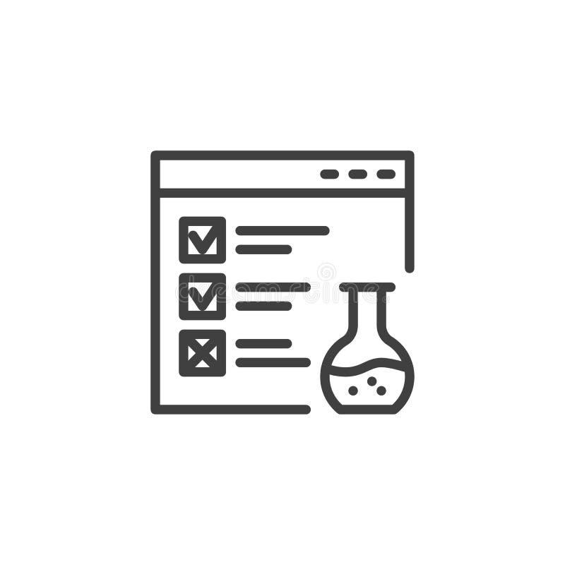 Línea icono de la prueba funcional de la página web stock de ilustración