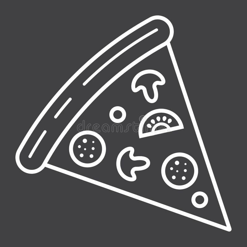 Línea icono de la rebanada de la pizza, comida y bebida, alimentos de preparación rápida stock de ilustración