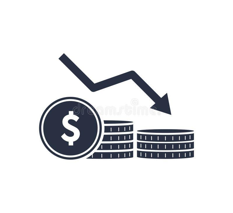 Línea icono de la reducción del dinero Pilas de monedas, efectivo, gráfico, flecha abajo Concepto de la inversi?n Ilustraci?n del ilustración del vector