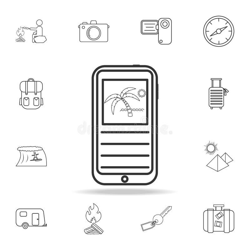 línea icono de la reservación del viaje del teléfono móvil Sistema de iconos del turismo y del ocio Muestras, colección de los mu libre illustration