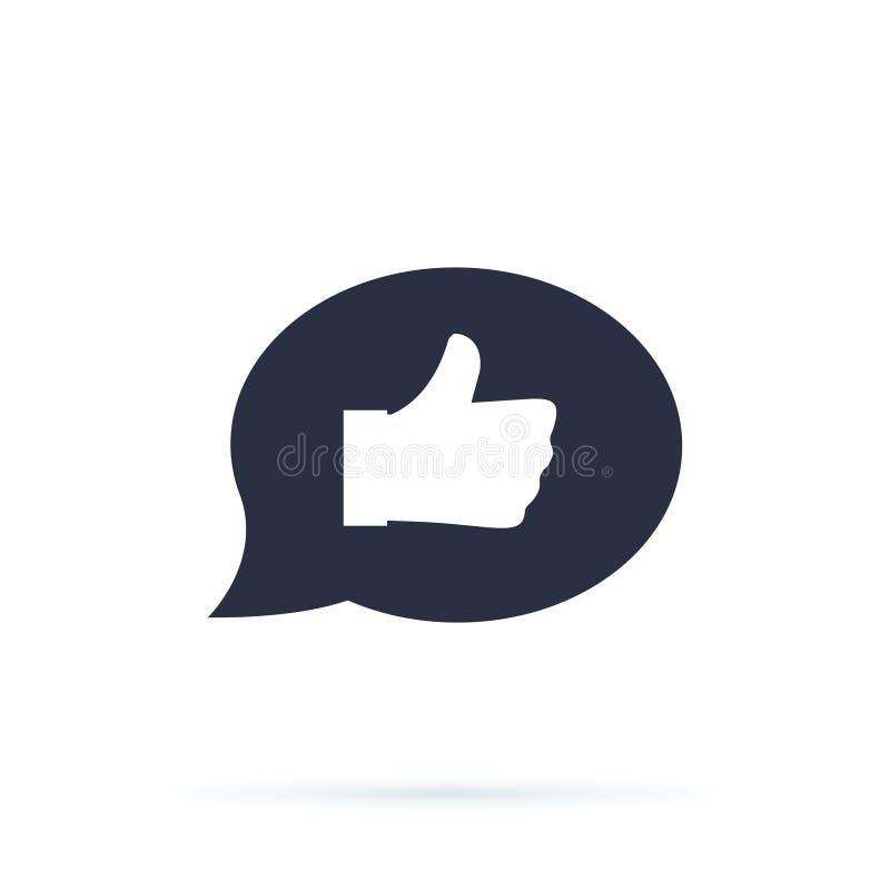 Línea icono de la retroalimentación positiva Símbolo de la comunicación Burbuja del discurso ilustración del vector