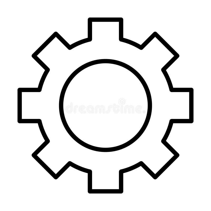 Línea icono de la rueda de engranaje Muestra del diente Opciones, preferencias y símbolo de los ajustes Vector libre illustration