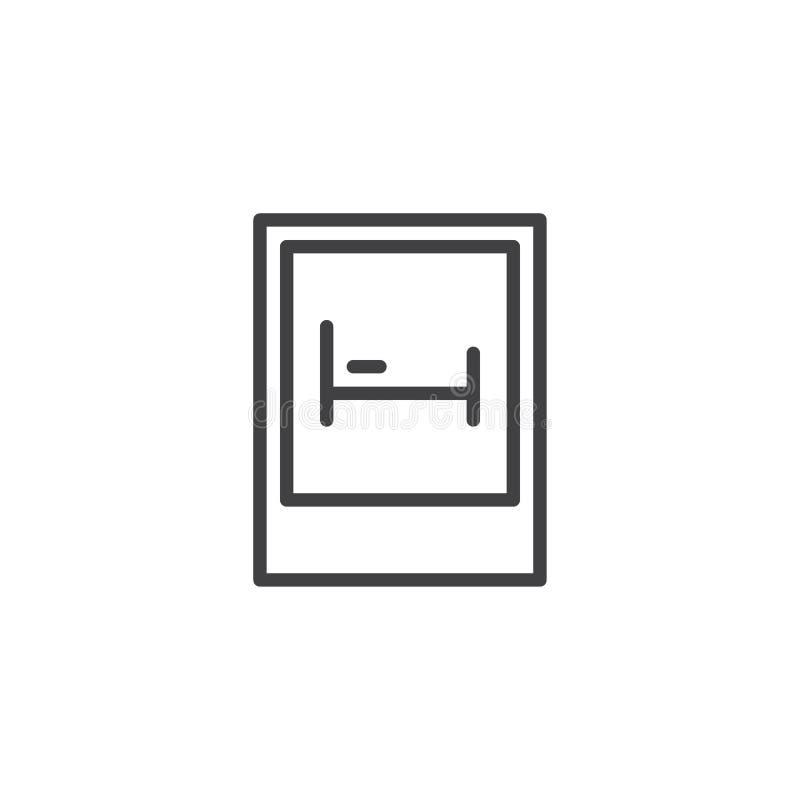 Línea icono de la señal de tráfico del motel ilustración del vector