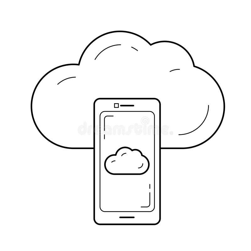 Línea icono de la sincronización de la nube ilustración del vector