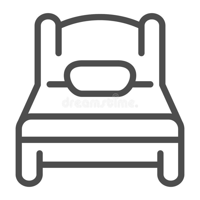 Línea icono de la sola cama Ejemplo del vector del sueño aislado en blanco Diseño del estilo del esquema del solo sitio, diseñado ilustración del vector