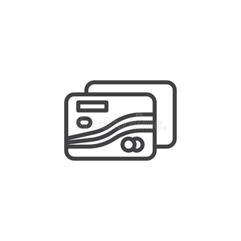 Línea icono de la tarjeta de crédito ilustración del vector