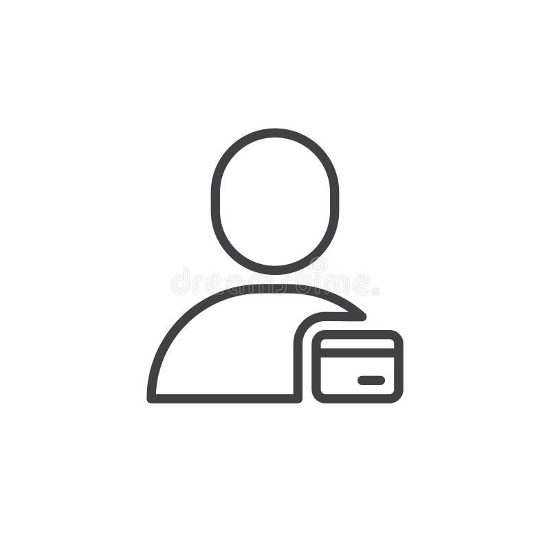 Línea icono de la tarjeta de la identificación del usuario ilustración del vector