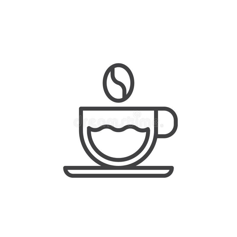 Línea icono de la taza de café y del grano de café stock de ilustración