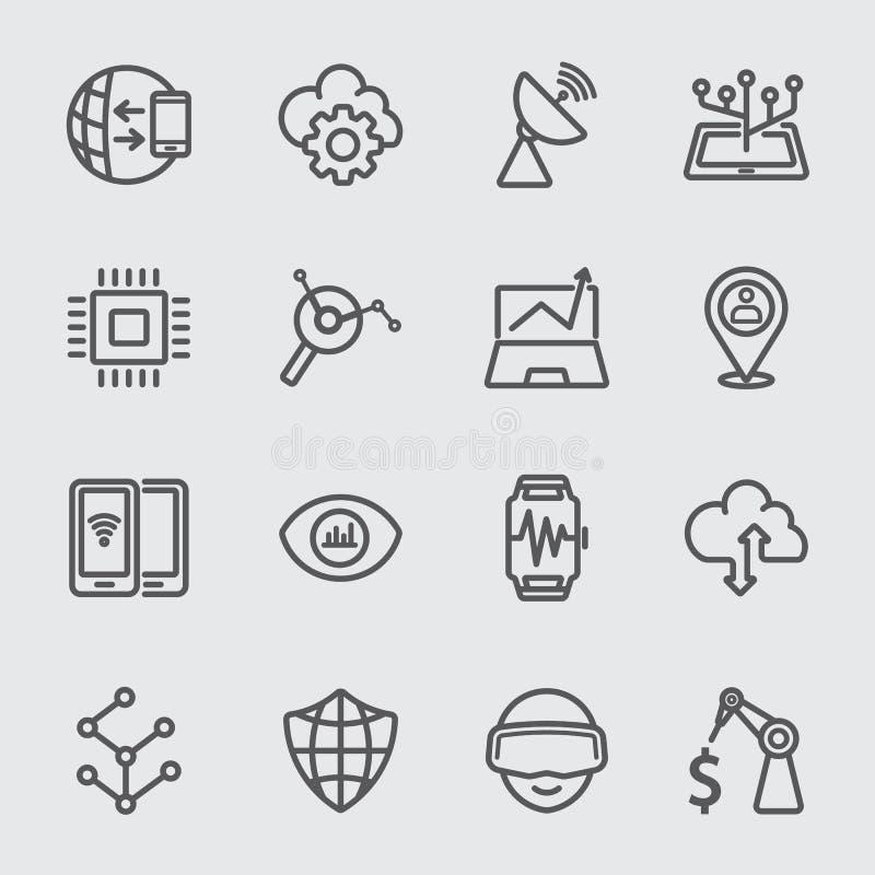Línea icono de la tecnología del negocio ilustración del vector