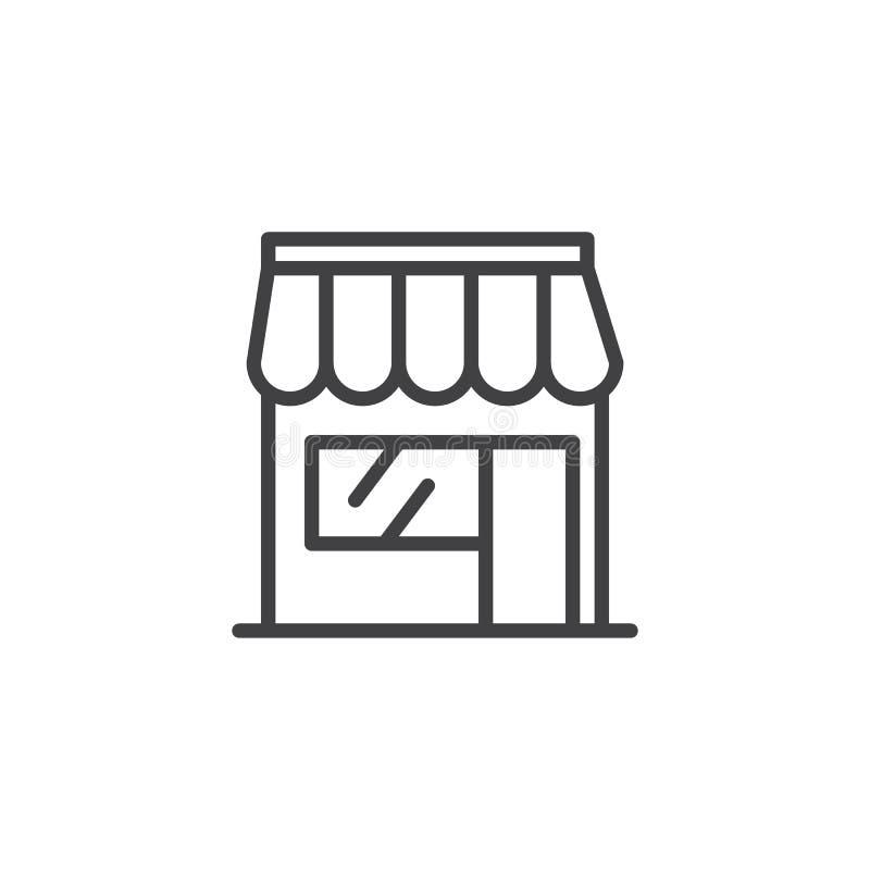 Línea icono de la tienda de la tienda ilustración del vector