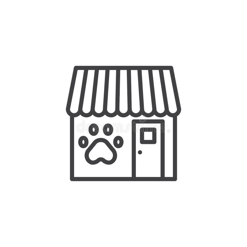 Línea icono de la tienda de animales stock de ilustración
