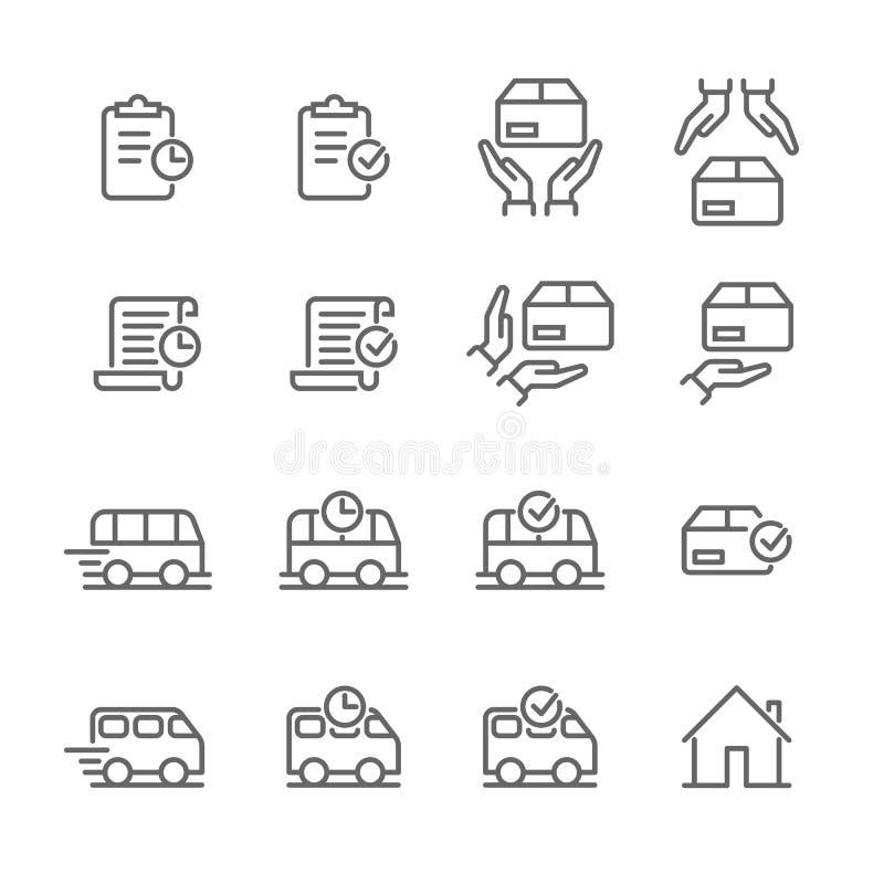 Línea icono de la tienda del web de la logística del vector de la entrega de la orden stock de ilustración