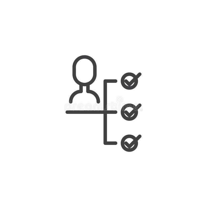 Línea icono de la toma de decisión del negocio stock de ilustración