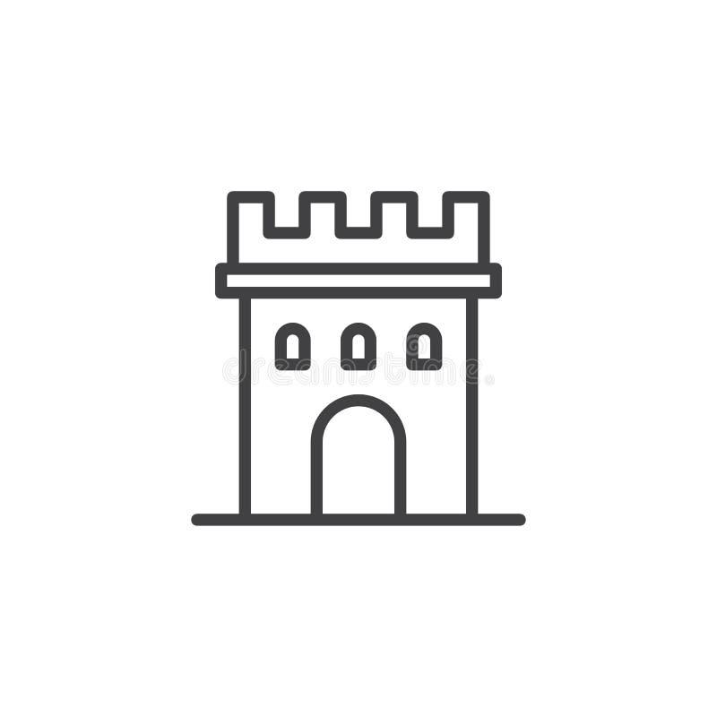 Línea icono de la torre del castillo libre illustration