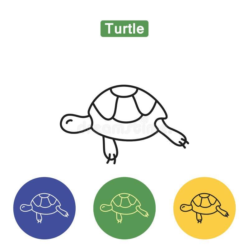 Línea icono de la tortuga stock de ilustración