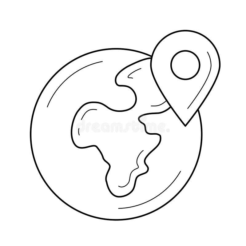 Línea icono de la ubicación de Geo ilustración del vector