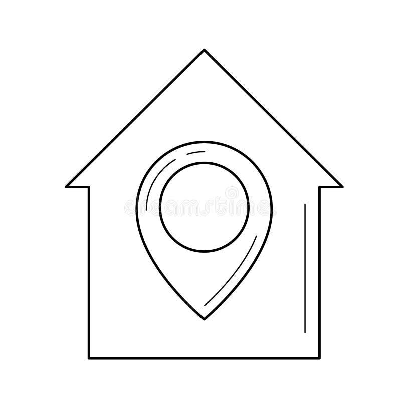 Línea icono de la ubicación de las propiedades inmobiliarias libre illustration