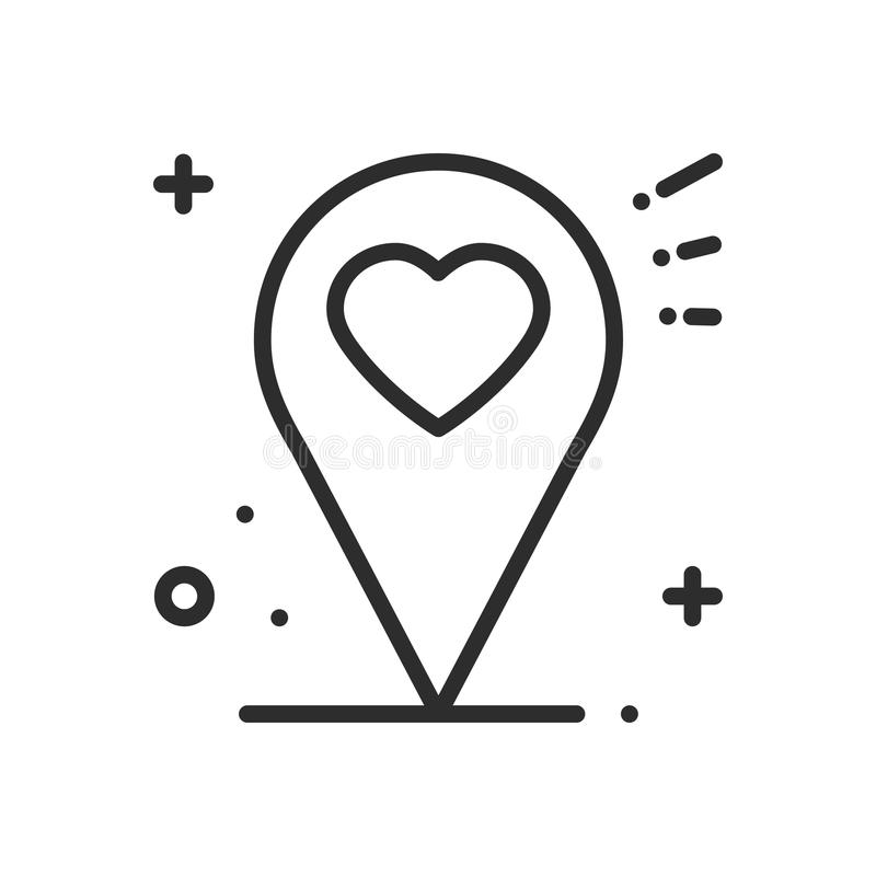 Línea icono de la ubicación Muestra y símbolo del indicador del perno del mapa nearsighted Dimensión de una variable del corazón stock de ilustración