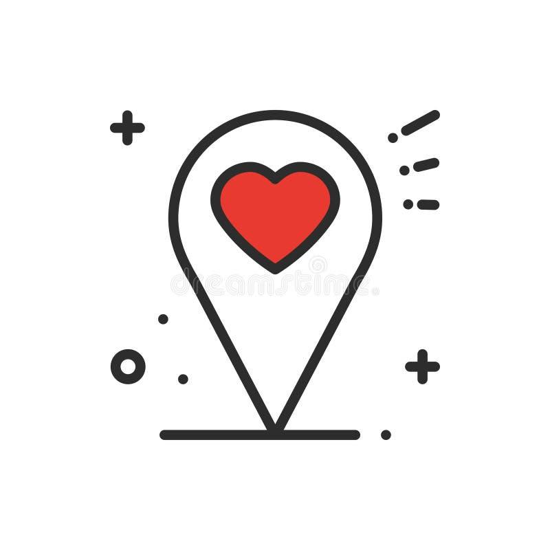 Línea icono de la ubicación Muestra y símbolo del indicador del perno del mapa nearsighted Dimensión de una variable del corazón libre illustration