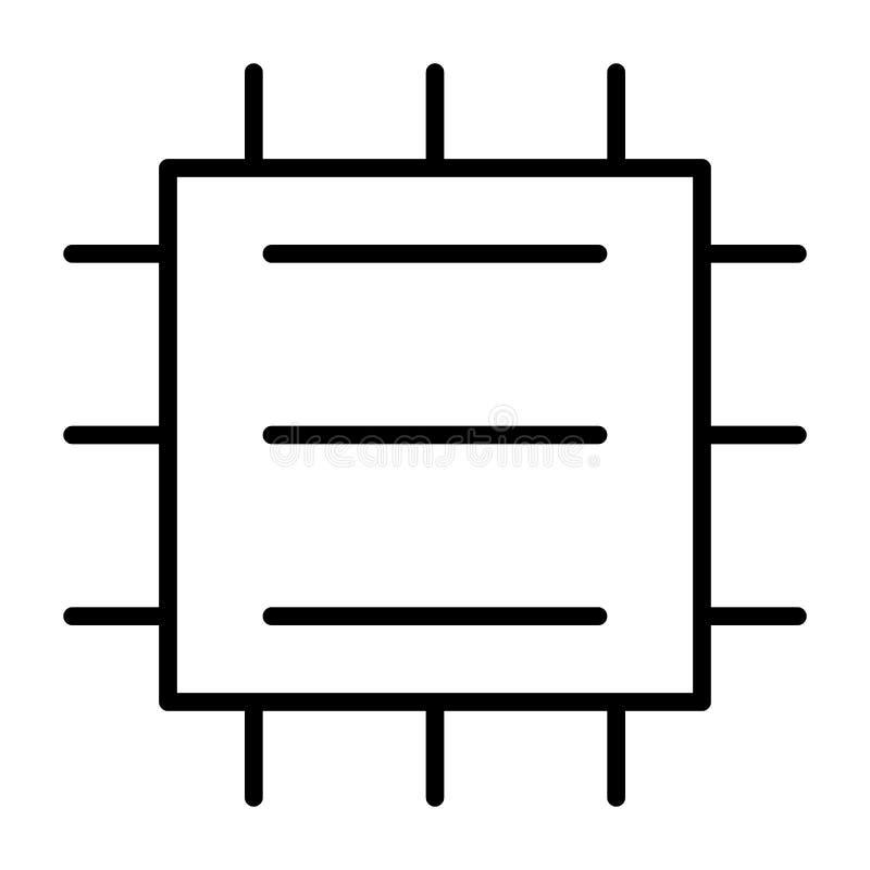 Línea icono de la unidad central de proceso Pictograma mínimo simple 96x96 del vector de la CPU stock de ilustración