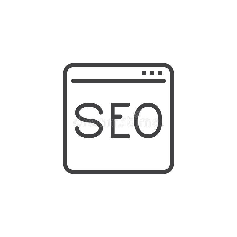 Línea icono de la ventana de SEO Service stock de ilustración