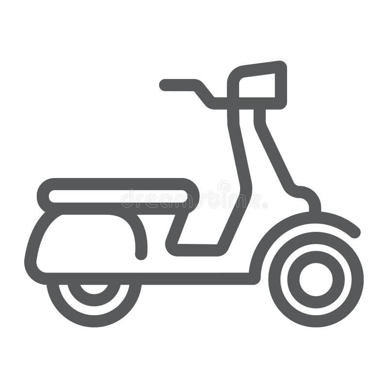 Línea icono de la vespa, vehículo y transporte, muestra de la moto, gráficos de vector, un modelo linear en un fondo blanco stock de ilustración