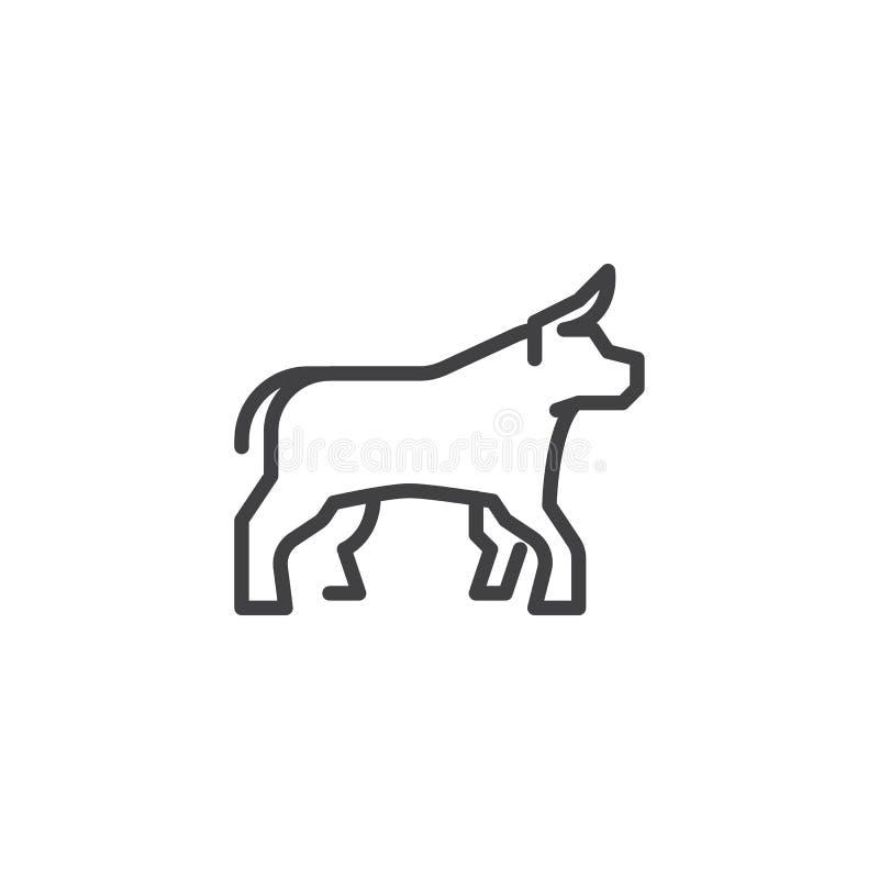 Línea icono de la vista lateral del buey libre illustration