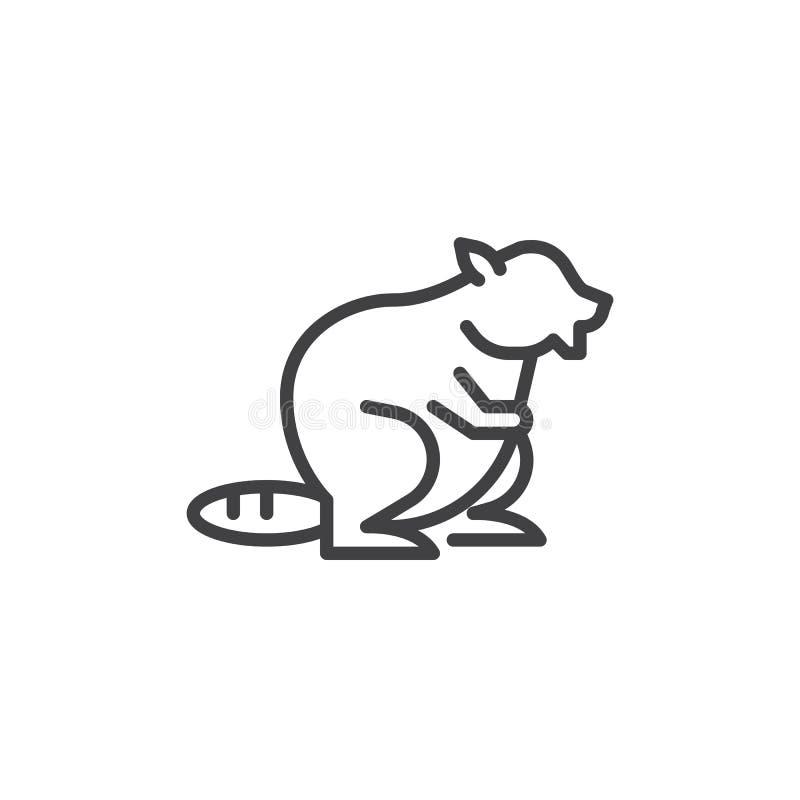 Línea icono de la vista lateral del castor ilustración del vector