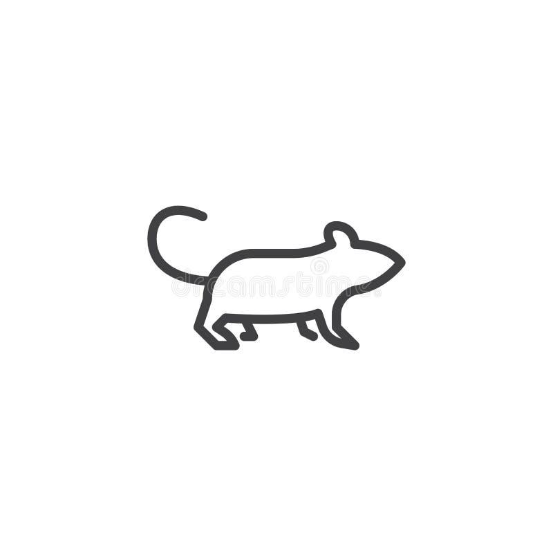 Línea icono de la vista lateral del roedor libre illustration