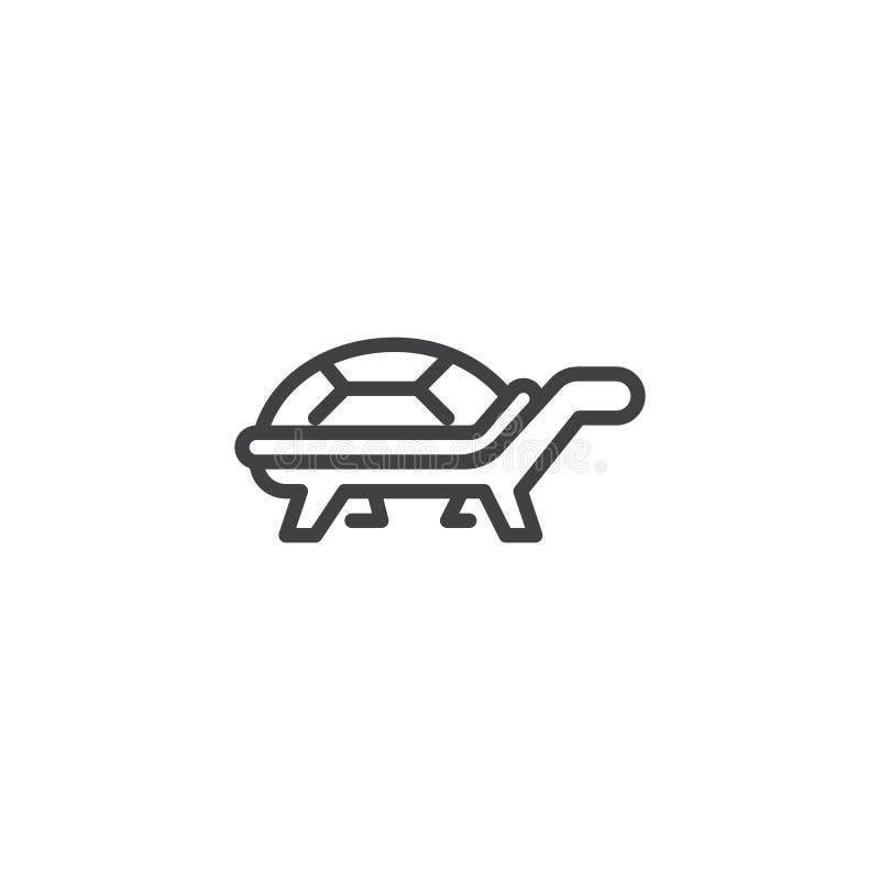 Línea icono de la vista lateral de la tortuga ilustración del vector