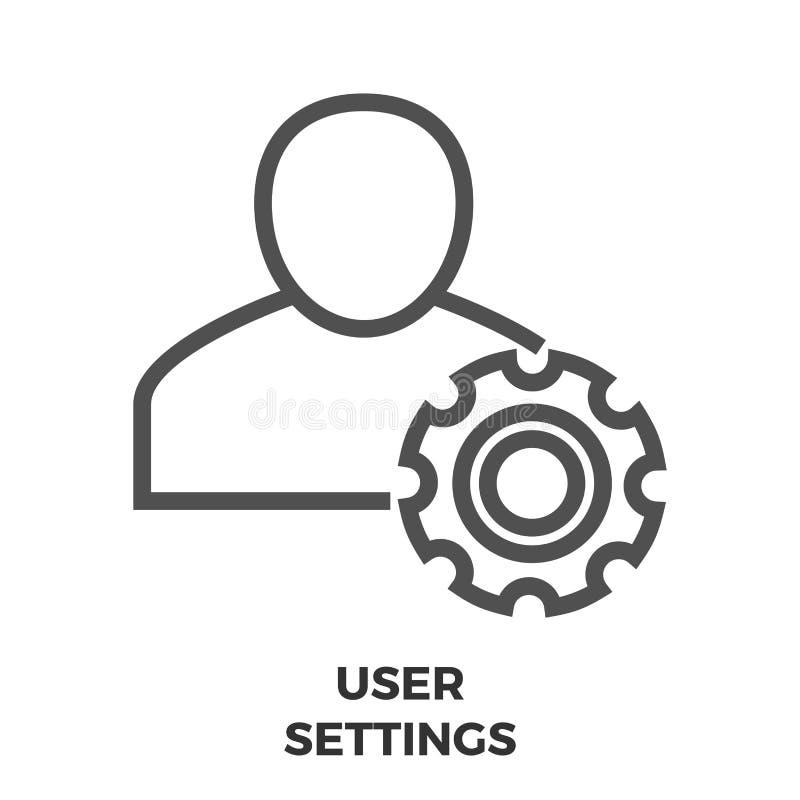 Línea icono de las configuraciones del usuario ilustración del vector