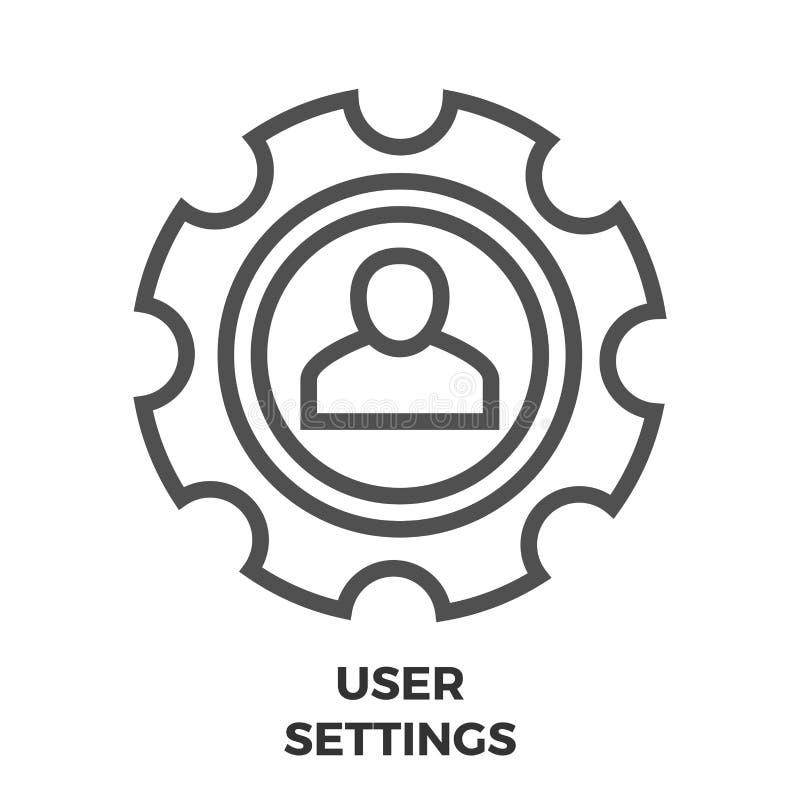Línea icono de las configuraciones del usuario stock de ilustración