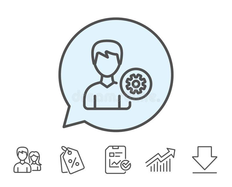 Línea icono de las configuraciones del usuario Muestra masculina del perfil stock de ilustración