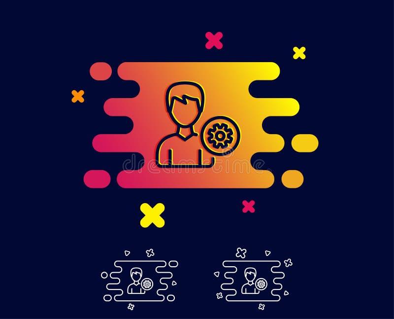 Línea icono de las configuraciones del usuario Muestra masculina del perfil libre illustration