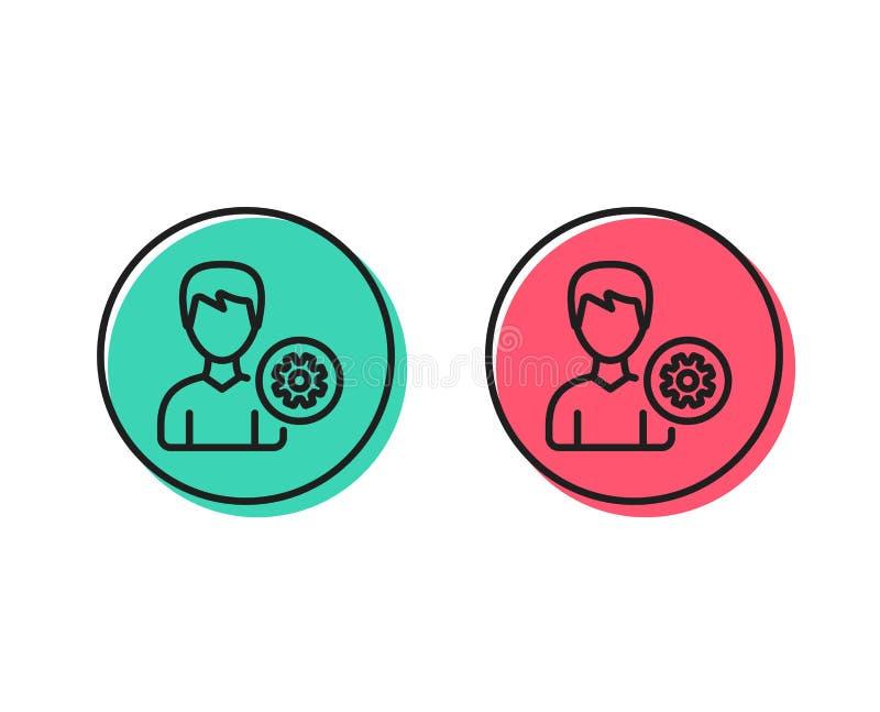 Línea icono de las configuraciones del usuario Muestra masculina del perfil Vector ilustración del vector