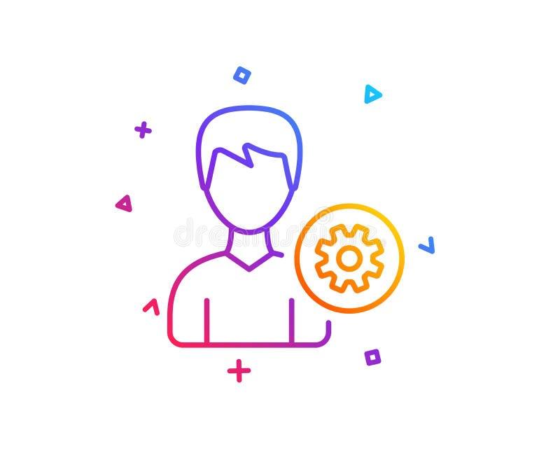 Línea icono de las configuraciones del usuario Muestra masculina del perfil Vector libre illustration