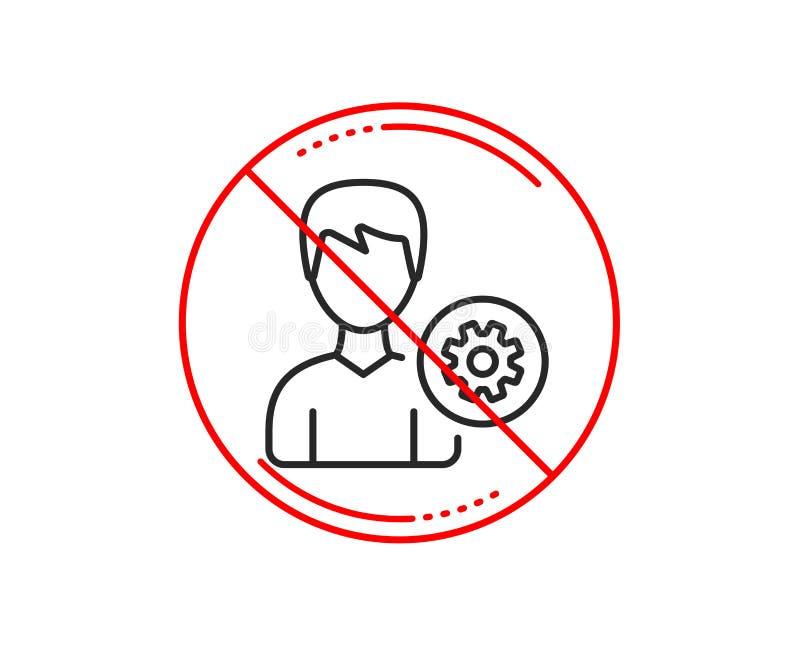 Línea icono de las configuraciones del usuario Muestra masculina del perfil Vector stock de ilustración
