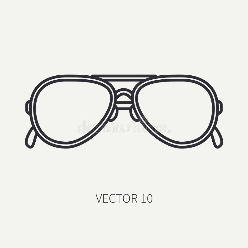 Línea icono de las gafas de sol de la moda del vintage del vector del llano plano Estilo retro Sol del océano, playa del mar Acce stock de ilustración