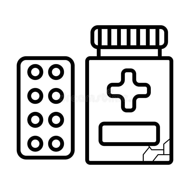 Línea icono de las píldoras libre illustration
