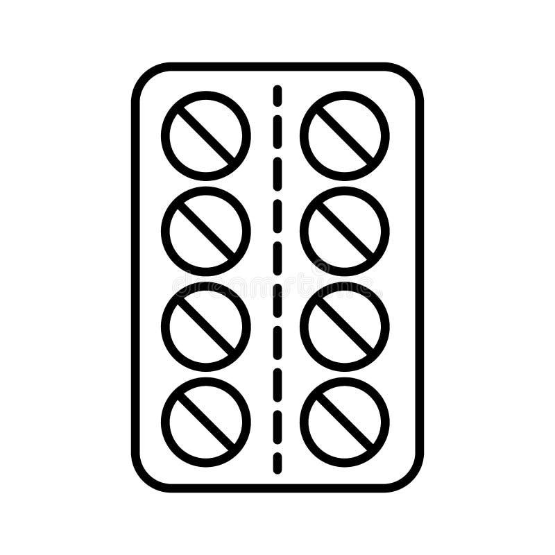 Línea icono de las píldoras Ejemplo del vector aislado en blanco diseño del estilo del esquema, diseñado para el web y el app EPS stock de ilustración