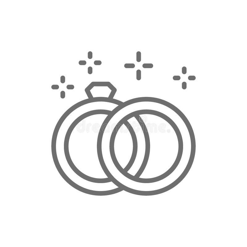 Línea icono de los anillos de bodas stock de ilustración