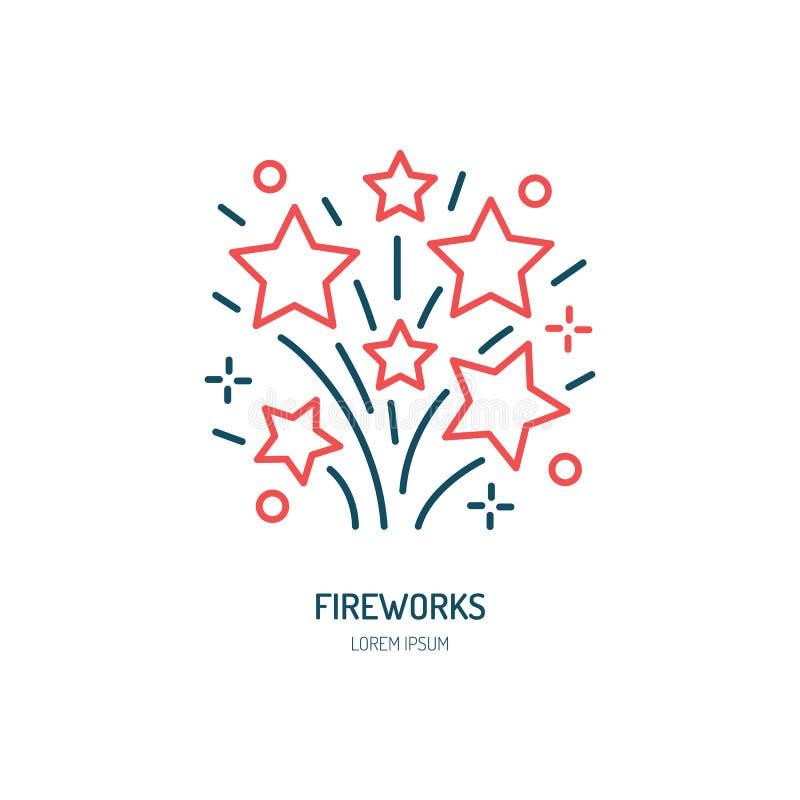 Línea icono de los fuegos artificiales Logotipo del vector para el servicio del evento Ejemplo linear de petardos ilustración del vector