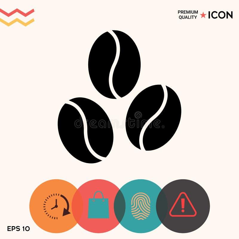 Línea icono de los granos de café stock de ilustración