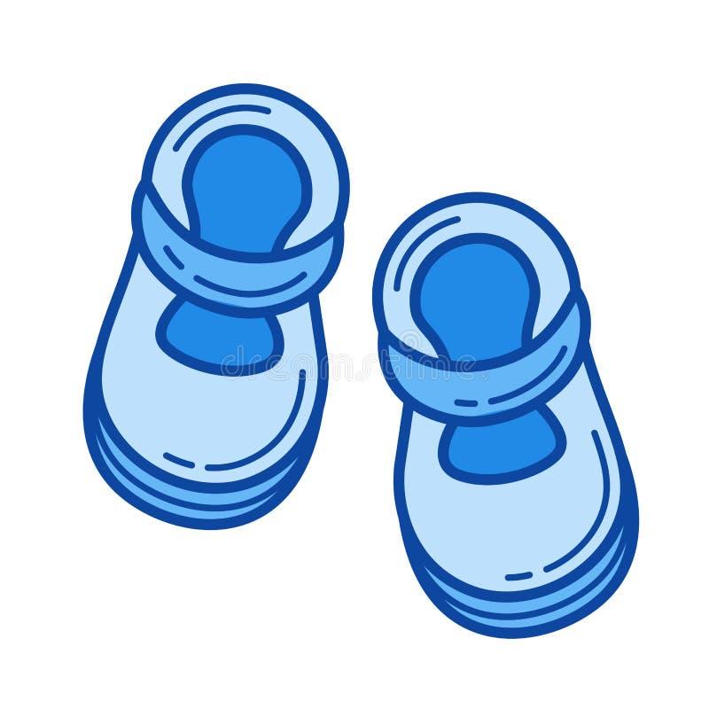 Línea icono de los zapatos de bebé ilustración del vector