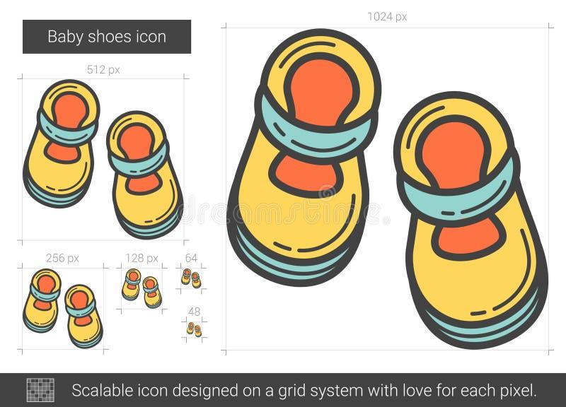 Línea icono de los zapatos de bebé stock de ilustración